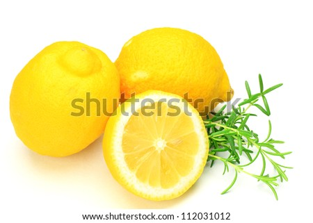 lemon and  rosemary - stock photo