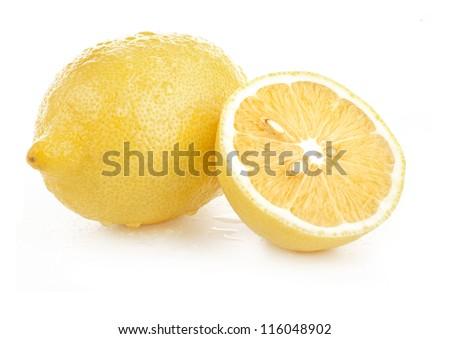 lemon and slice isolated on white background - stock photo