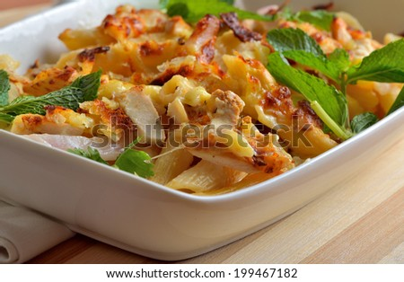 Lemon chicken pasta in a bowl - stock photo