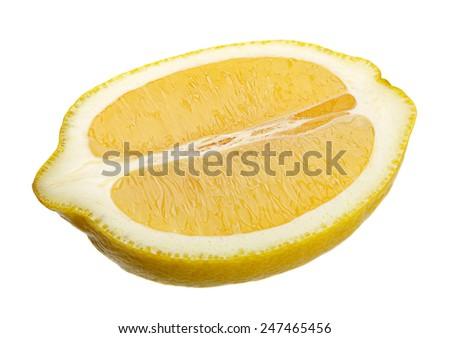 Lemon citrus fruit slice isolated on white background - stock photo