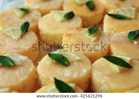 lemon dessert with mint as nice food background