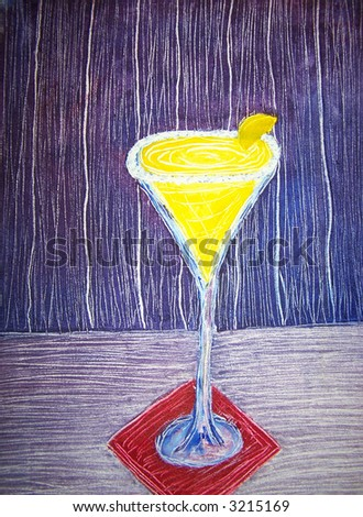 Lemon drop martini oil painting - stock photo
