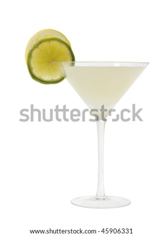 Lemon Drop mixed drink with lemon and lime slice garnish on a white background - stock photo