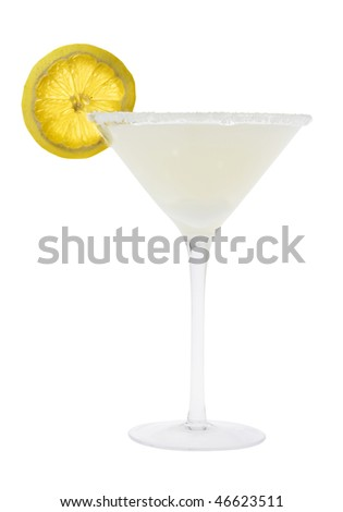 Lemon Drop mixed drink with lemon slice garnish on a white background