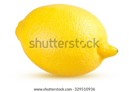 Lemon fruit isolated on white background with Clipping Path - stock photo