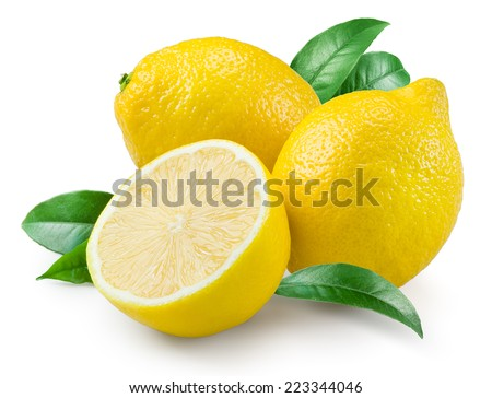 Lemon. Fruit with leaves on a white background. - stock photo
