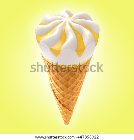 lemon ice cream cone on background / 3D illustration