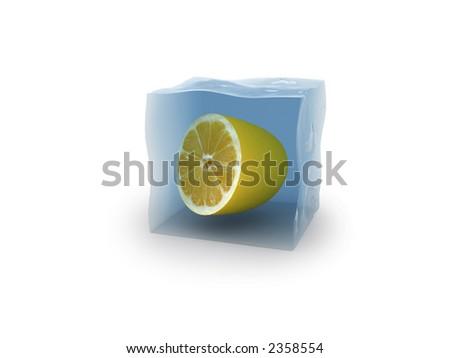 Lemon in cube of ice - stock photo