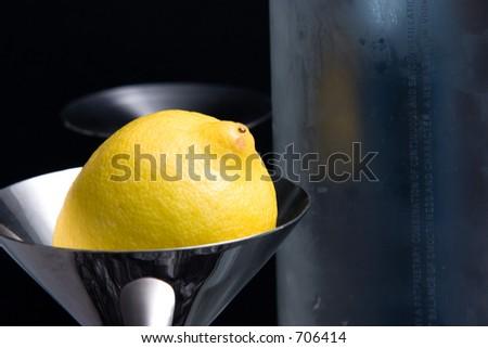 Lemon in martini Glass - stock photo