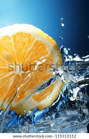 lemon in water - stock photo
