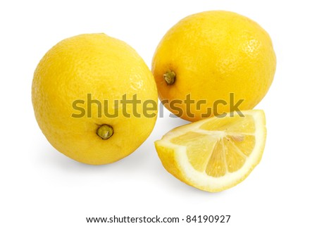 Lemon isolated against a white background including clipping path. - stock photo