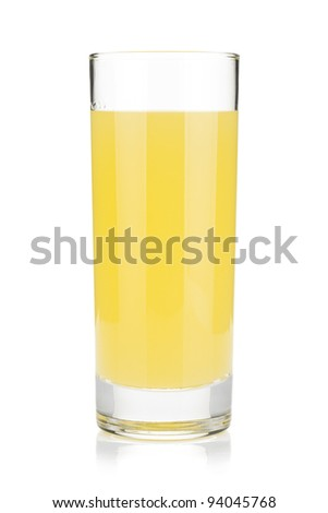 Lemon juice glass. Isolated on white background