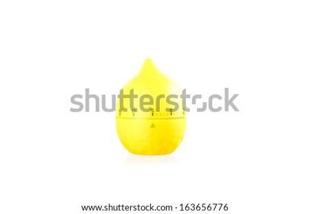 Lemon kitchen ticker timer isolated over white background - stock photo