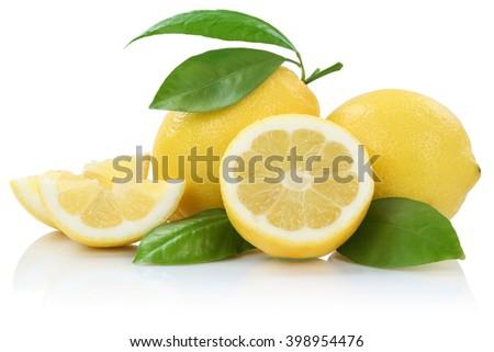 Lemon lemons fruits isolated on a white background - stock photo