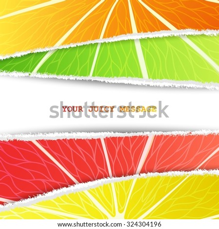 Lemon, lime, orange and grapefruit mixed background in the original torn paper version with free space for text - stock photo