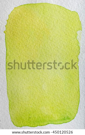 Lemon, lime, pear, yellow, green fresh bright hand drawn abstract watercolor background. Space for text, lettering, copy. Postcard template. - stock photo