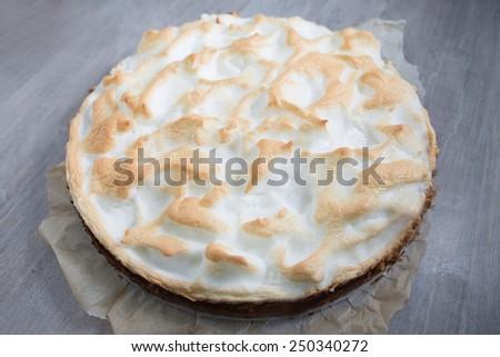 Lemon meringue pie - stock photo