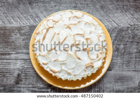 Lemon meringue pie on plate