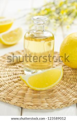 lemon oil - stock photo