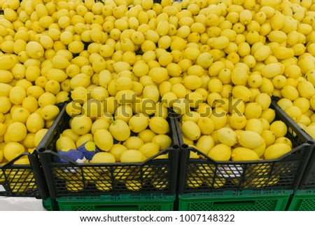 Lemon on the market counter top view