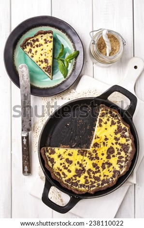 lemon pastry with chocolate - stock photo