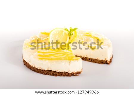 Lemon pie cheesecake dessert delicious creamy sweet pastry - stock photo