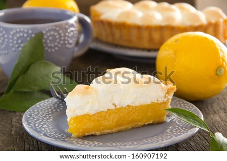 Lemon pie with meringue. - stock photo
