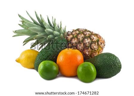 lemon, pineapple, orange, lime, avocado isolated on a white background - stock photo