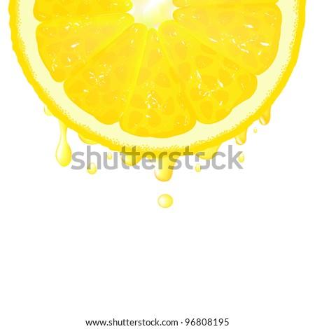 Lemon Segment With Juice - stock photo