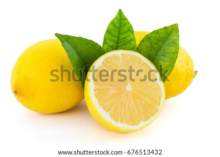 lemon, slice, leaf on a white background