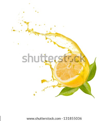Lemon slice with splash, isolated on white background - stock photo