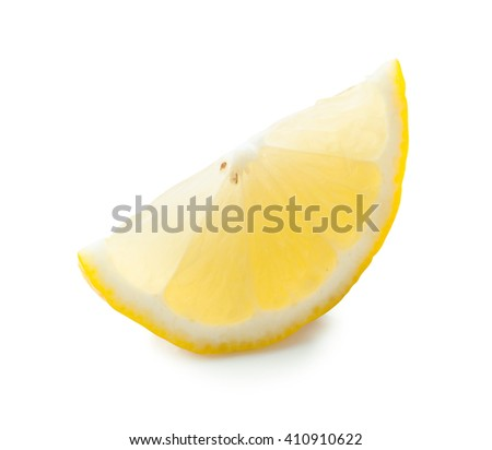Lemon sliced with clipping path on white background. - stock photo
