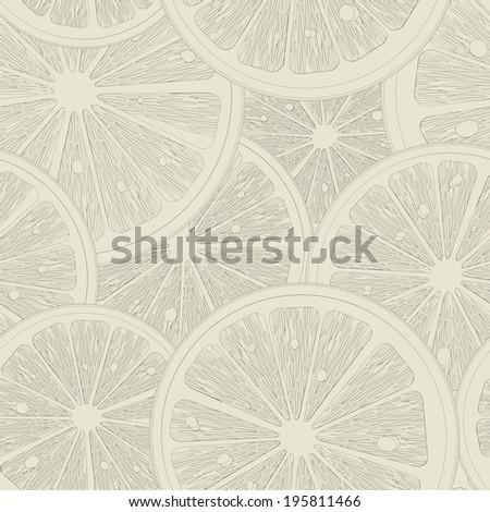 Lemon slices seamless pattern sketch - stock photo