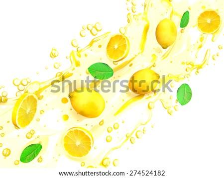 Lemon slices with juice splash - stock photo