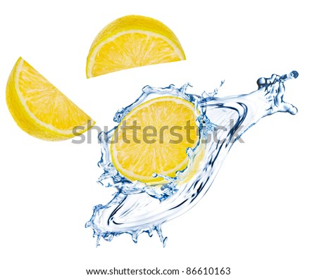 Lemon slices with water splash