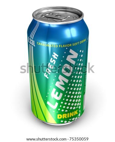 Lemon soda drink in metal can - stock photo