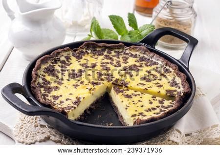 lemon tarte with chocolate - stock photo
