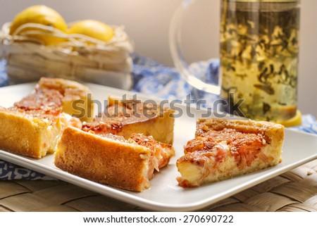 Lemon tarte with grapefruits - stock photo