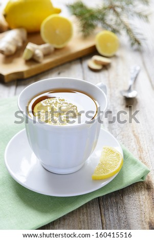 Lemon tea with ginger
