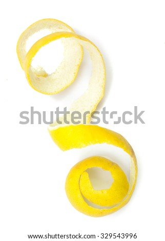 Lemon twist on white background. - stock photo