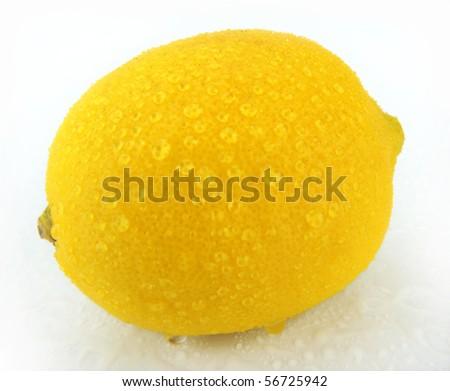 Lemon with drops - stock photo
