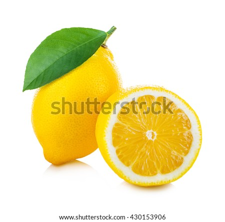 Lemon with green leaf isolated on white background - stock photo