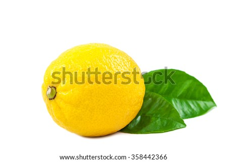 Lemon with green leaves isolated on white background. - stock photo