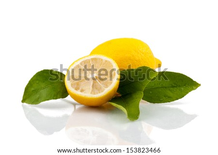 Lemon with leaves  - stock photo
