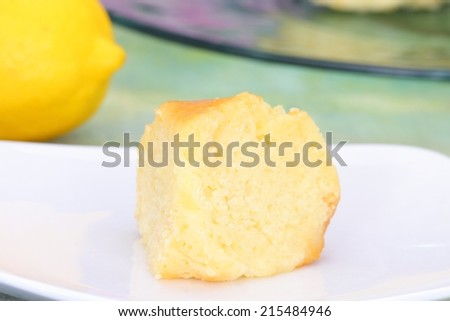 Lemon Yogurt cake for tea time snack high calorie with sugar syrup - stock photo