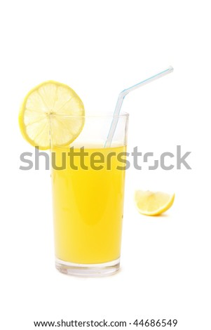 Lemonade and lemon on white background (isolated)