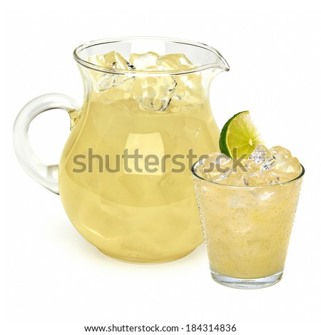 Lemonade in pitcher and glass with ice on white background - stock photo
