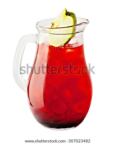 Lemonade Pitcher Isolated. Cherry Lemonade Drink - stock photo