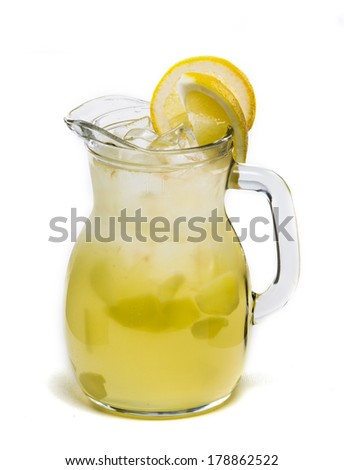 Lemonade Pitcher with a clipping path isolated on white