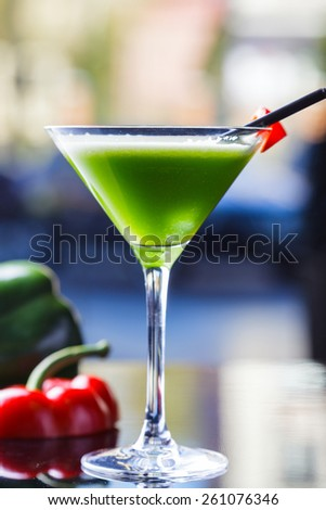 Lemonade with green pepper